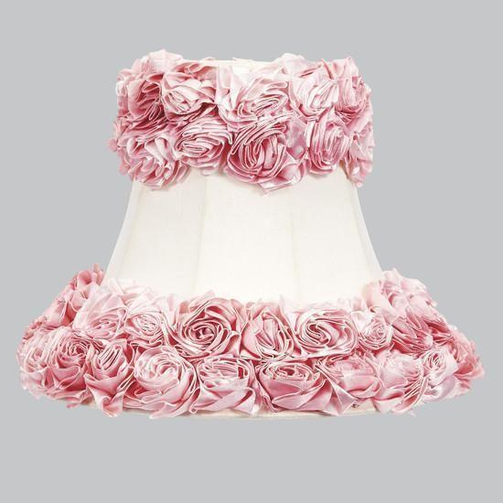 Large Shade - Bell Shape - Off White with Pink Rose Garden