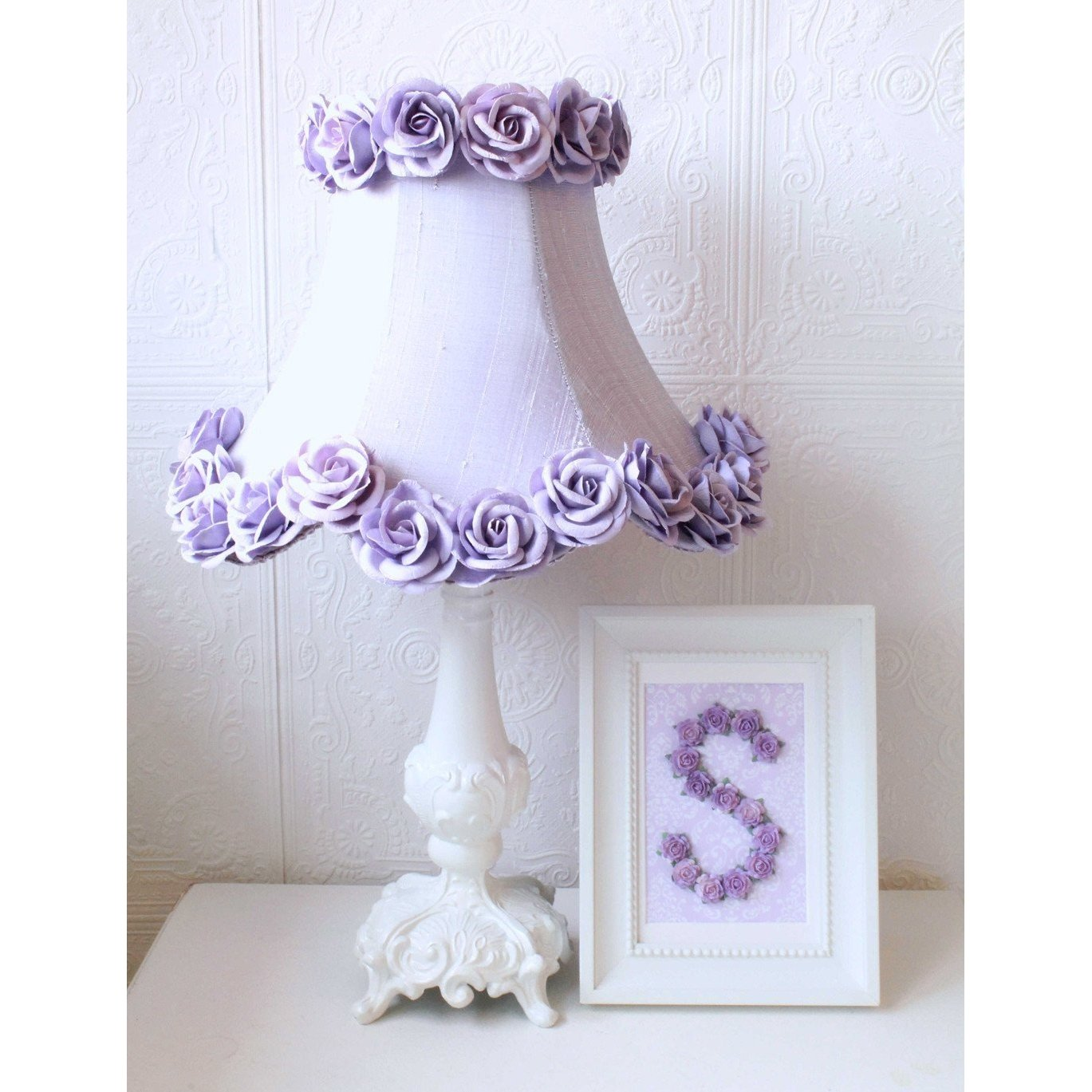 Lavender Dupioni Silk Lamp Shade with Roses-Lamp Shades-Default-Jack and Jill Boutique