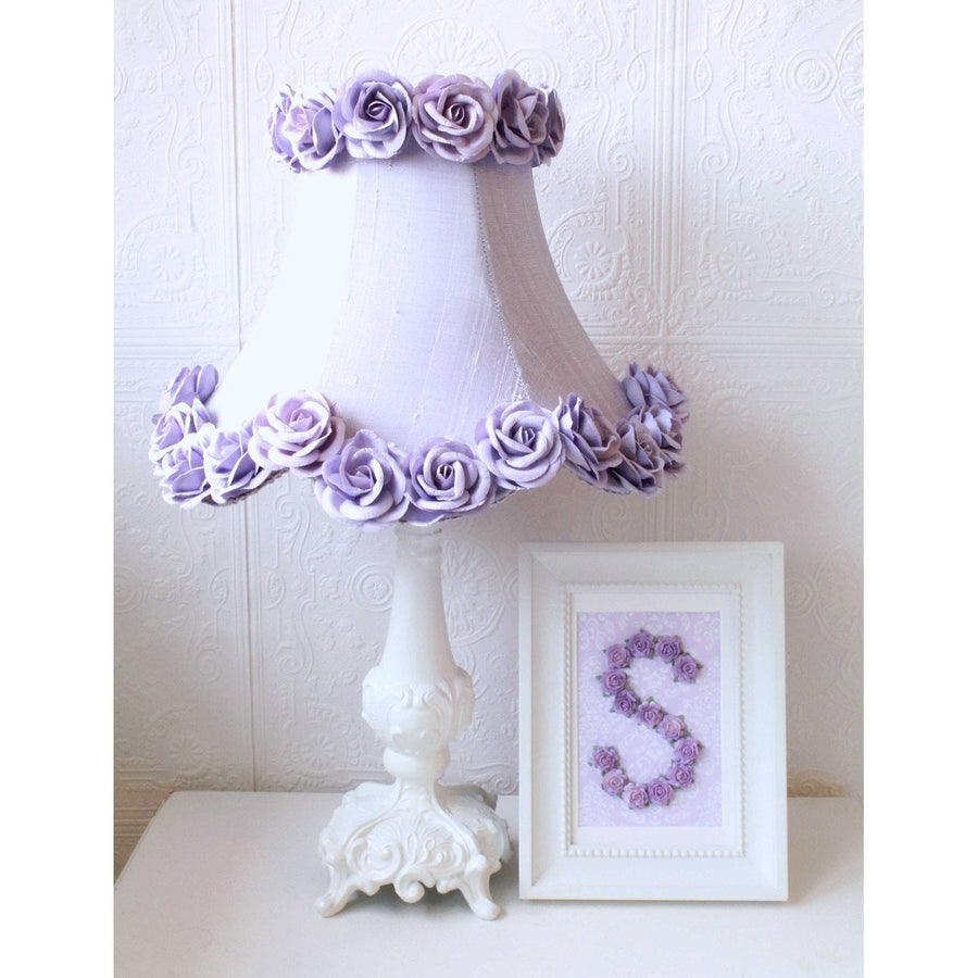 Lavender Dupioni Silk Lamp Shade with Roses