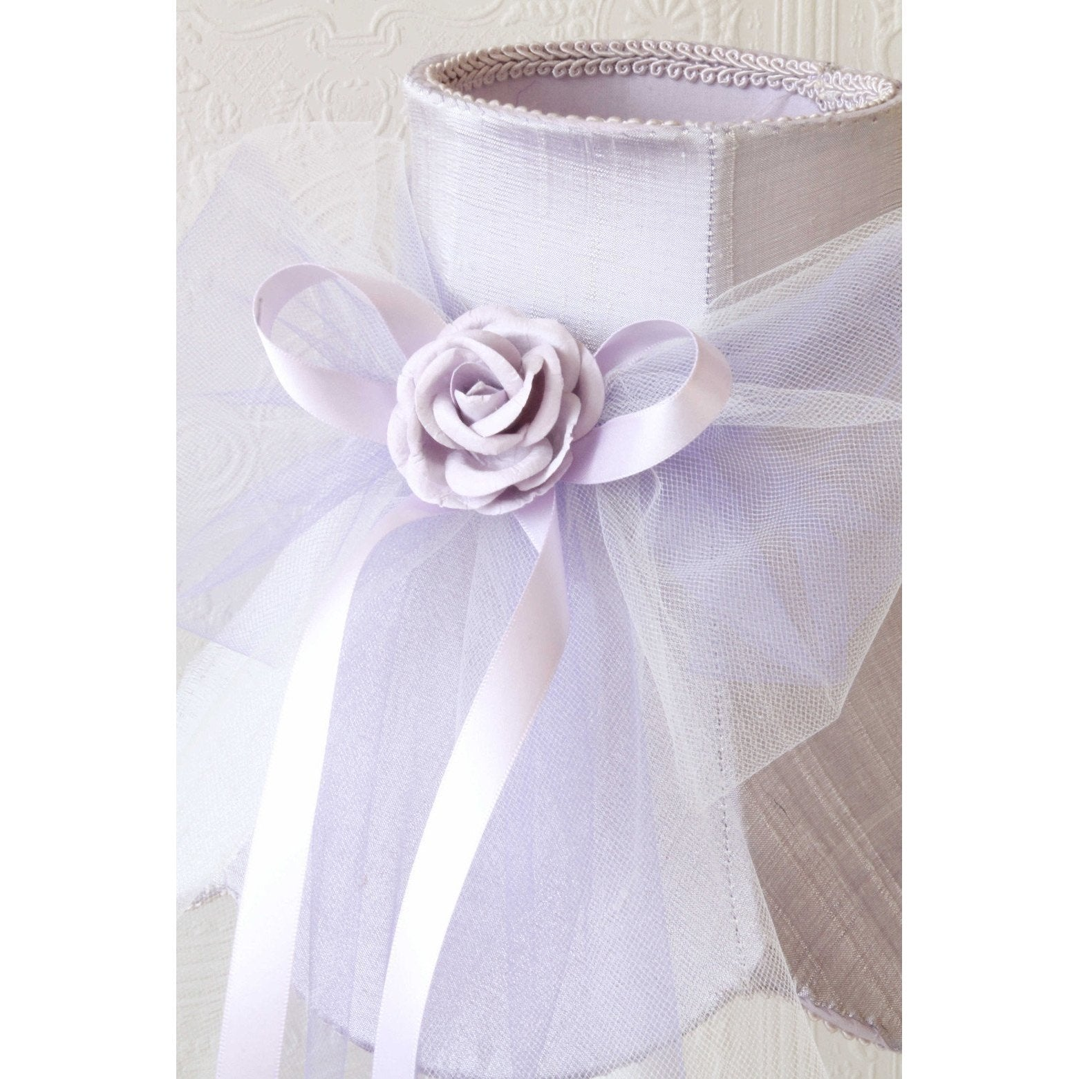 Lavender Dupioni Silk Lamp Shade with Tulle Bow-Lamp Shades-Default-Jack and Jill Boutique