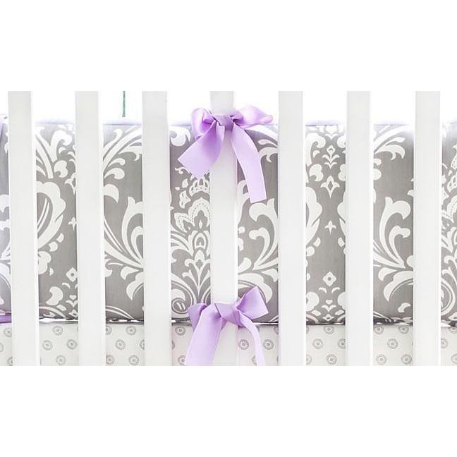 Lavender & Gray Bumper | Lavender & Gray Damask Wisteria in Lavender Crib Baby Bedding Set-Bumper-Jack and Jill Boutique