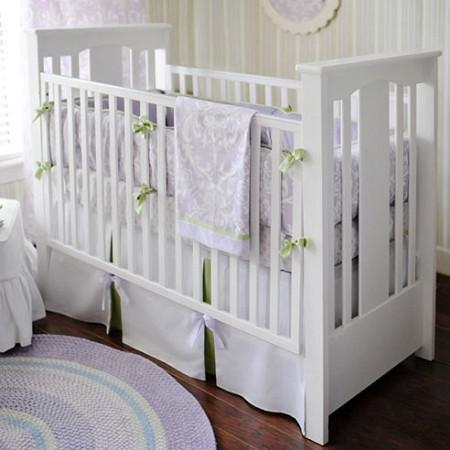 Lavender & Gray Damask Wisteria in Lavender Baby Bedding Set-Crib Bedding Set-Jack and Jill Boutique