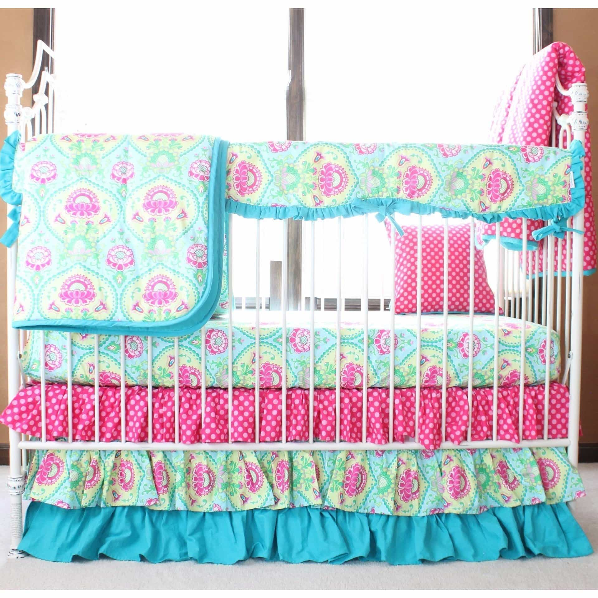 Lavinia Aqua Ruffled Crib Baby Bedding Set-Crib Bedding Set-Sheet Skirt Comforter and Railcover-Jack and Jill Boutique