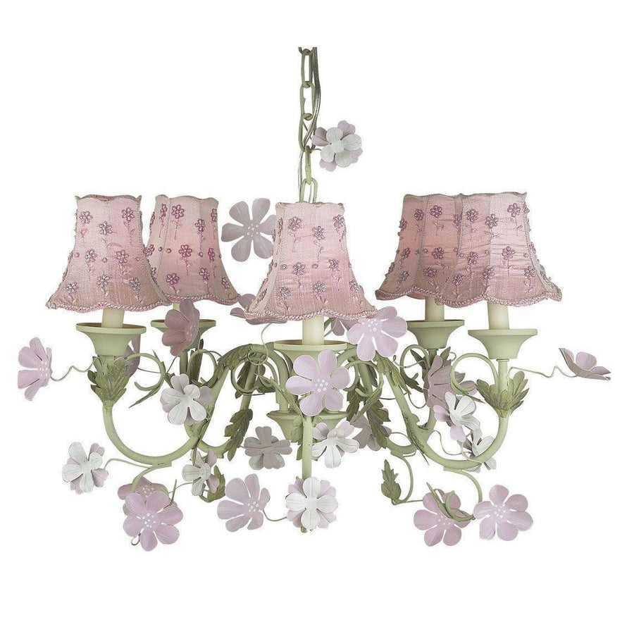 Leaf and Flower Pink and Green Five-Light Mini Chandelier with Daisy Pearl Pink Chandelier Shades-Chandeliers-Default-Jack and Jill Boutique