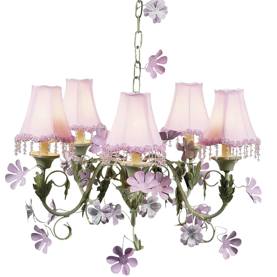 Leaf and Flower Pink and Green Five-Light Mini Chandelier with Pearl Flower Pink Chandelier Shades-Chandeliers-Default-Jack and Jill Boutique