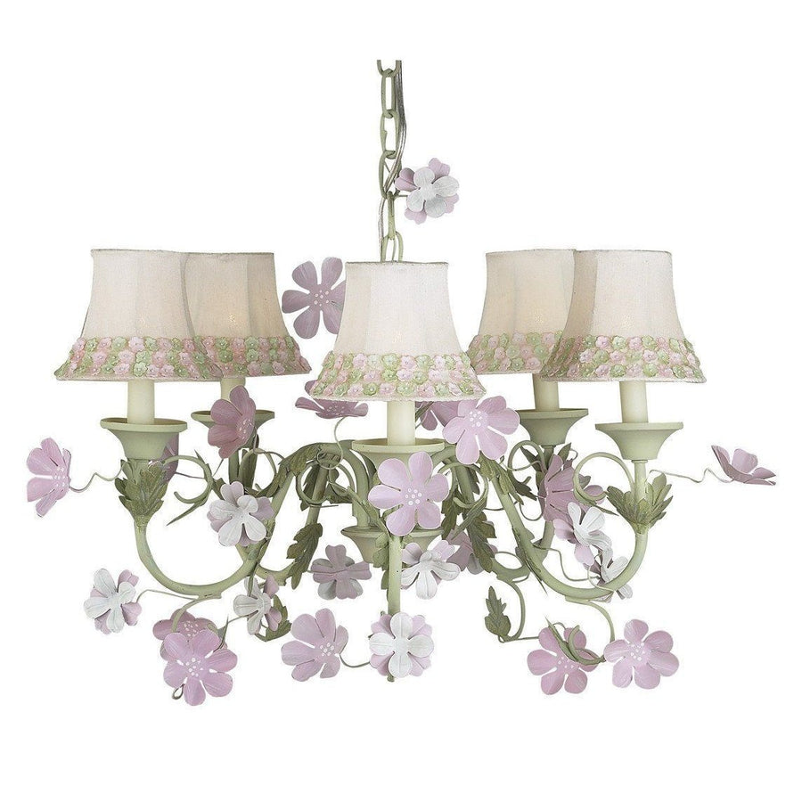 Leaf and Flower Pink and Green Five-Light Mini Chandelier with Pink/Green Flower Border Chandelier Shades-Chandeliers-Default-Jack and Jill Boutique