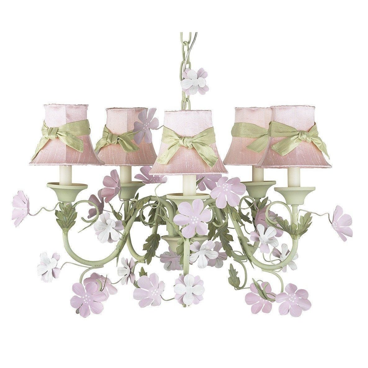 Leaf and Flower Pink and Green Five-Light Mini Chandelier with Plain Pink with Sash Chandelier Shades-Chandeliers-Default-Jack and Jill Boutique