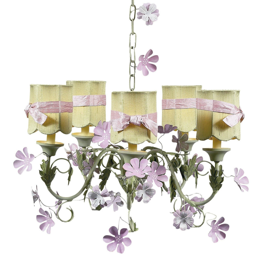 Leaf and Flower Pink and Green Five-Light Mini Chandelier with Scallop Drum Green with Sash Chandelier Shades-Chandeliers-Default-Jack and Jill Boutique