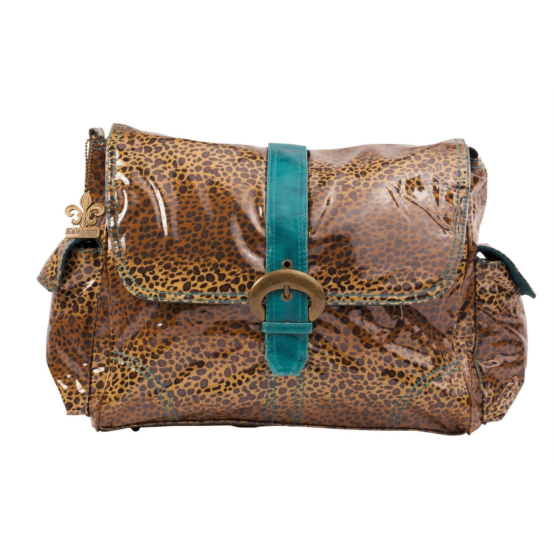 Leopard - Teal Laminated Buckle Diaper Bag | Style 2960 - Kalencom-Diaper Bags-Jack and Jill Boutique