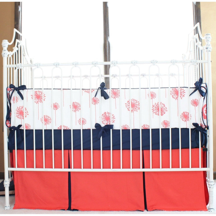 Levy's Dandelion Damask Baby Bedding | Coral, Navy Crib Bedding Set-Crib Bedding Set-Default-Jack and Jill Boutique