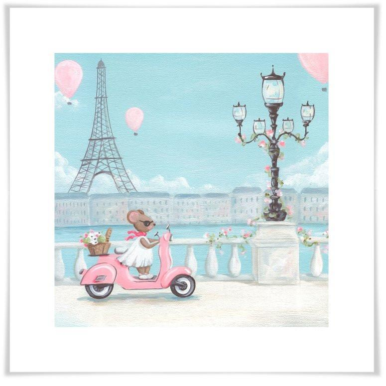 Little Pink Vespa-Art Print-Jack and Jill Boutique
