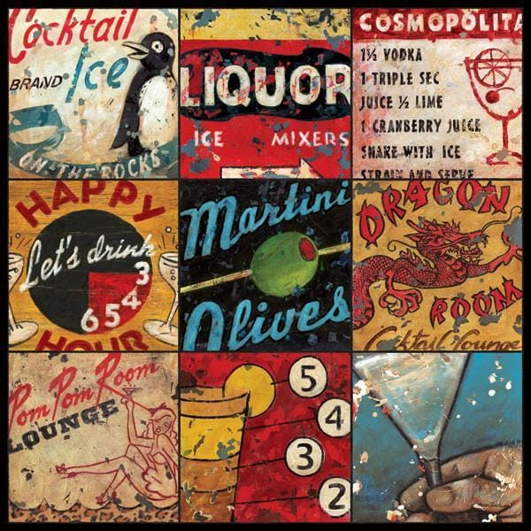 Lounge & Libations Collage | Happy Hour Art Collection | Canvas Art Prints-Canvas Wall Art-Jack and Jill Boutique