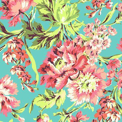 Love Bliss Floral Coral Fabric  By The Yard | 100% Cotton