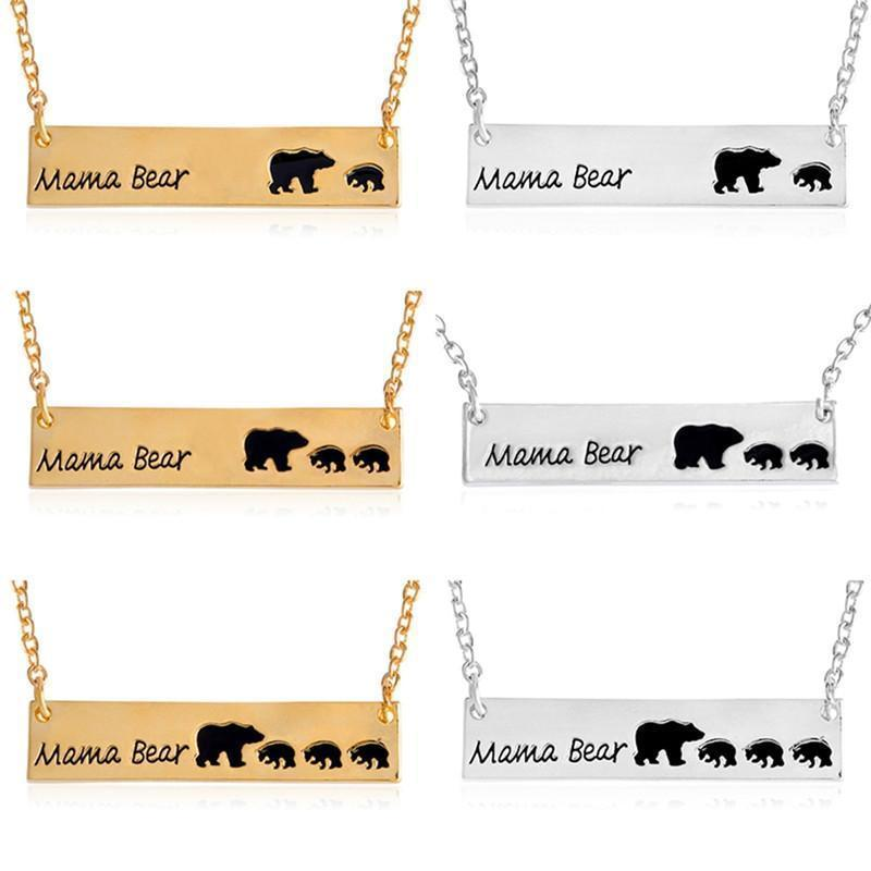 MAMA BEAR + BABY BEARS BAR PENDANT-Jewelry-Jack and Jill Boutique