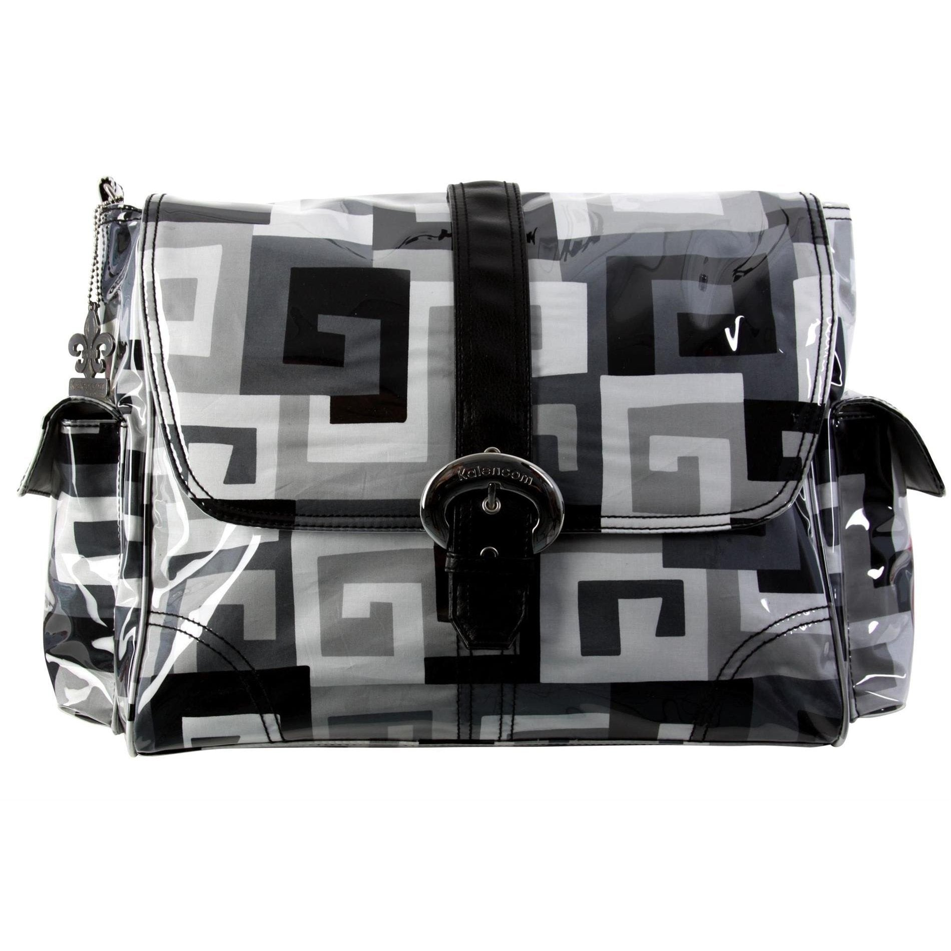 Maze - Black & White Matte Coated Buckle Diaper Bag | Style 2960 - Kalencom-Diaper Bags-Jack and Jill Boutique