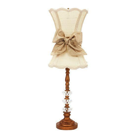 Medium 3 Glass Ball Gold Base with Ivory Scalloped Hourglass Shade & Taupe Sash-Lamp Shades-Default-Jack and Jill Boutique