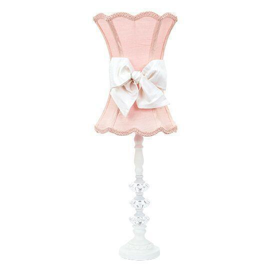 Medium 3 Glass Ball White Base with Pink Scalloped Hourglass Shade & White Sash-Lamp Shades-Default-Jack and Jill Boutique