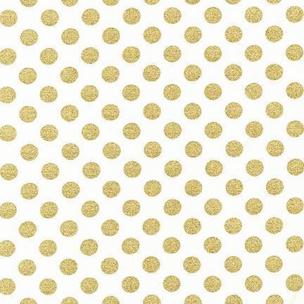 Metallic Gold Dots Fabric | 100% Cotton