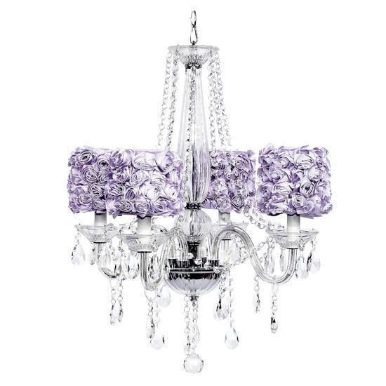 Middleton Four-Light Chandelier with Lavender Rose Garden Drum Shades