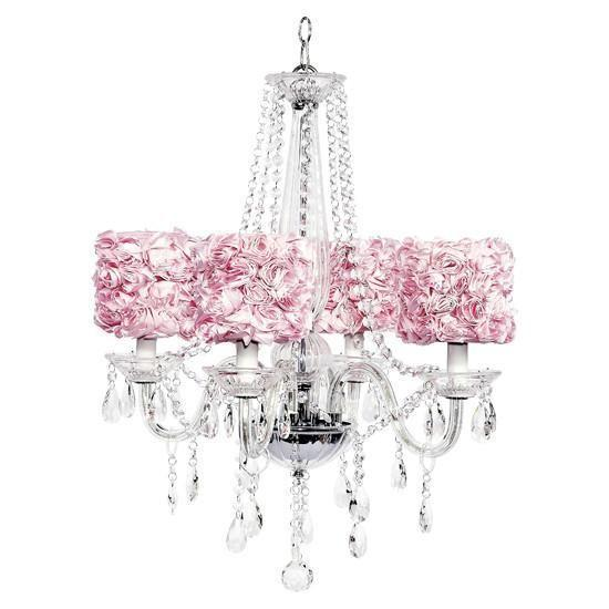 Middleton Four-Light Chandelier with Pink Rose Garden Drum Shades-Chandeliers-Default-Jack and Jill Boutique