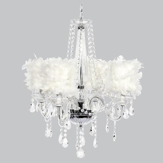 Middleton Four-Light Chandelier with White Feather Drum Shades-Chandeliers-Default-Jack and Jill Boutique