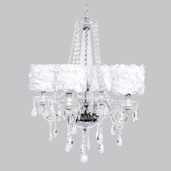 Middleton Four-Light Chandelier with White Rose Garden Drum Shades-Chandeliers-Default-Jack and Jill Boutique