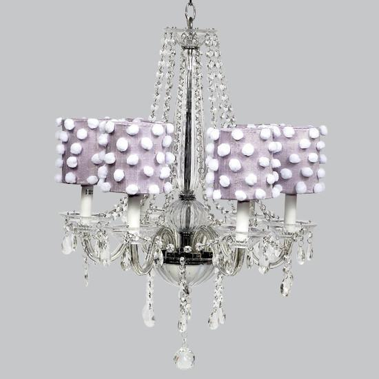 Middleton White Six Light Chandelier with Lavender Drum Shades-Chandeliers-Default-Jack and Jill Boutique