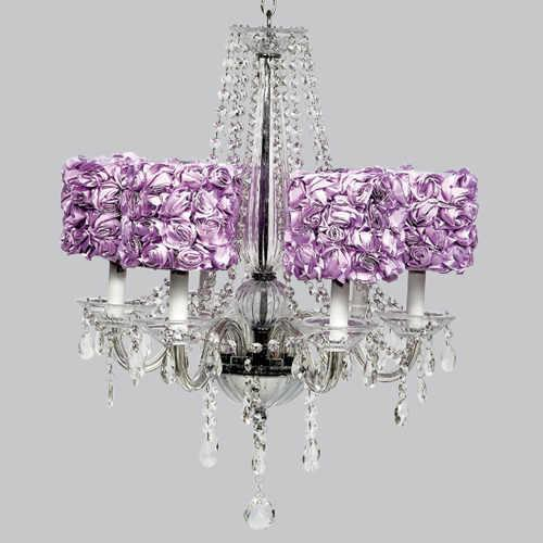 Middleton White Six Light Chandelier with Rose Garden Drum-Chandeliers-Default-Jack and Jill Boutique