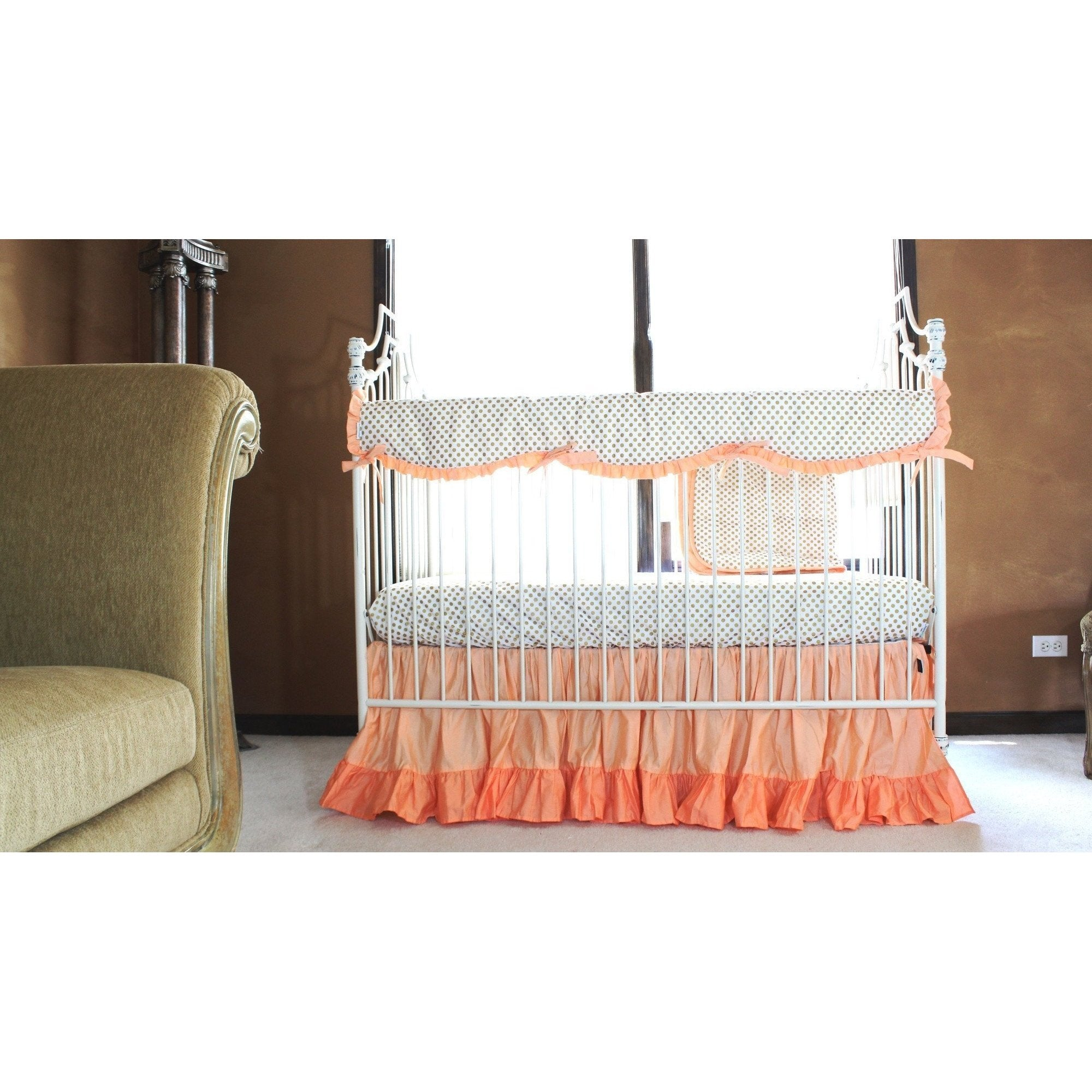 Molly's Gold Dots and Coral Ruffle Crib Bedding Set | Daybed Bedding-Crib Bedding Set-Jack and Jill Boutique