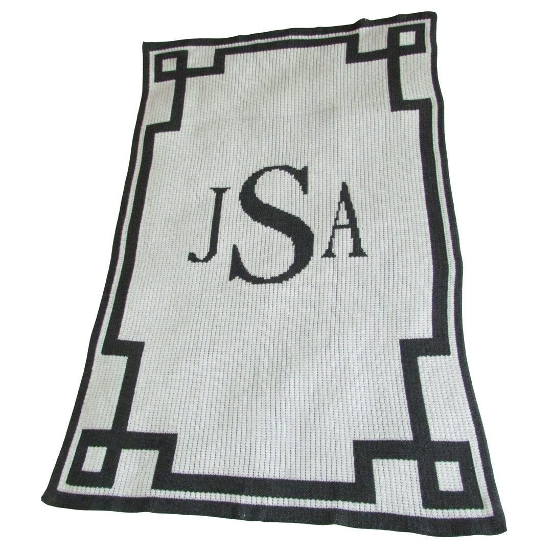 Monogram and Scroll Border Personalized Stroller Blanket or Baby Blanket-Blankets-Jack and Jill Boutique
