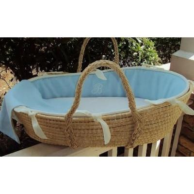 Monogram Series Blue Moses Basket-Moses Basket-Default-Jack and Jill Boutique