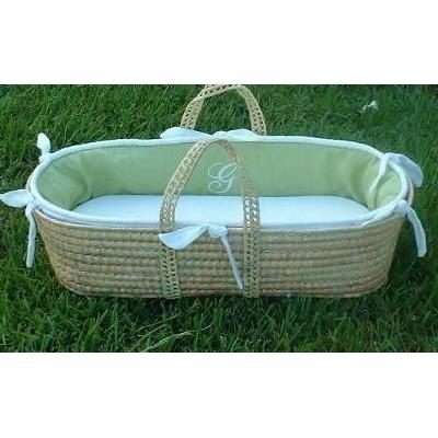 Monogram Series Celery Moses Basket-Moses Basket-Default-Jack and Jill Boutique