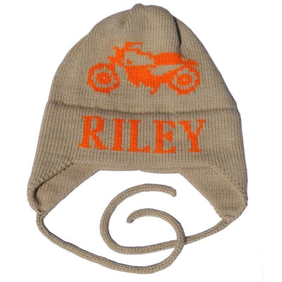 Motorcycle Personalized Knit Flap Hat-Hats-Jack and Jill Boutique