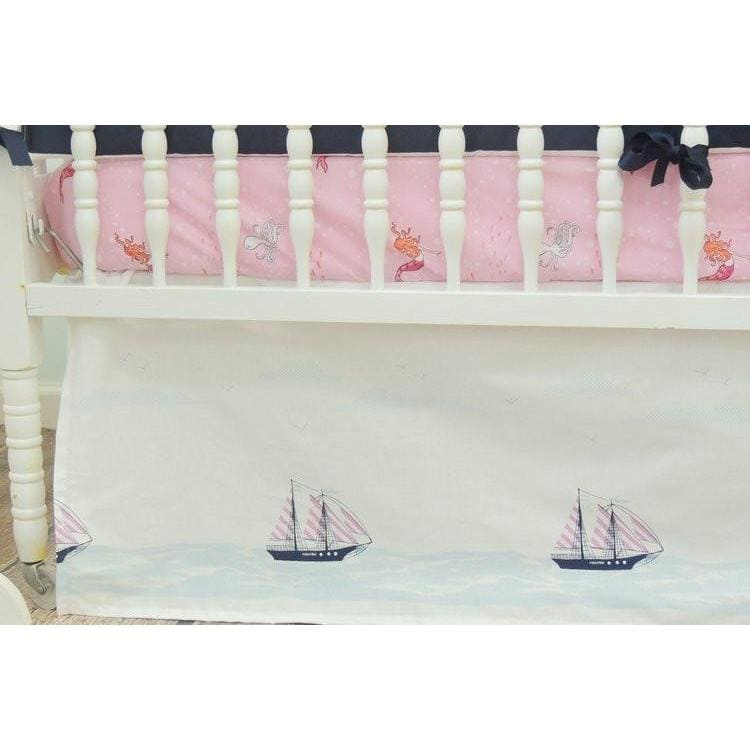 Nautical Baby Bedding | Navy Blue, Coral Pink Crib Bedding-Crib Bedding Set-Default-Jack and Jill Boutique