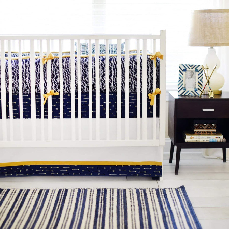 Navy & Gold Arrow Go Your Own Way Baby Bedding Set-Crib Bedding Set-Default-Jack and Jill Boutique