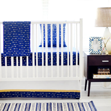 Navy & Gold Arrow Go Your Own Way Baby Bedding Set
