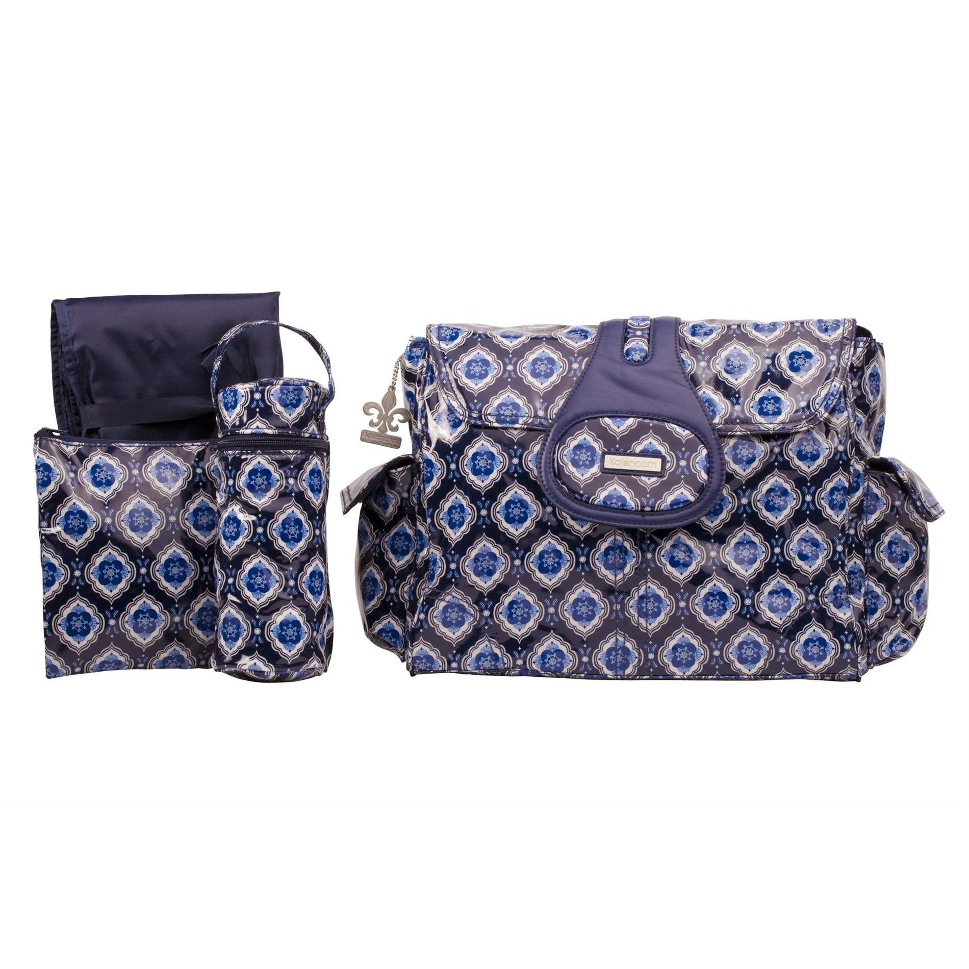 Navy Medallion Elite Coated Diaper Bag | Style 2975 - Kalencom-Diaper Bags-Default-Jack and Jill Boutique