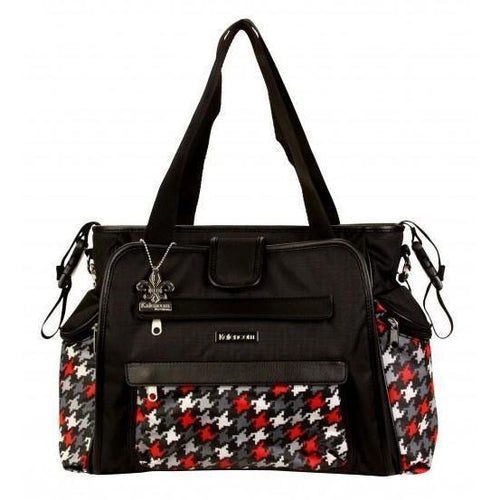 Nylon Coated Nola Tote Houndstooth Black & Red Diaper Bag | Style 2994 - Kalencom-Diaper Bags-Jack and Jill Boutique