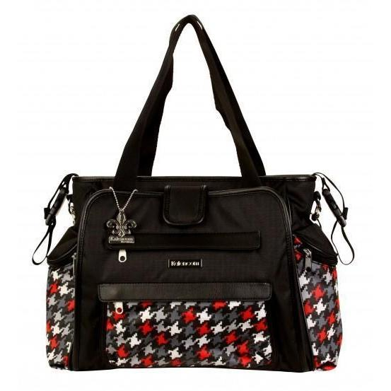 Nylon Coated Nola Tote Houndstooth Black & Red Diaper Bag | Style 2994 - Kalencom