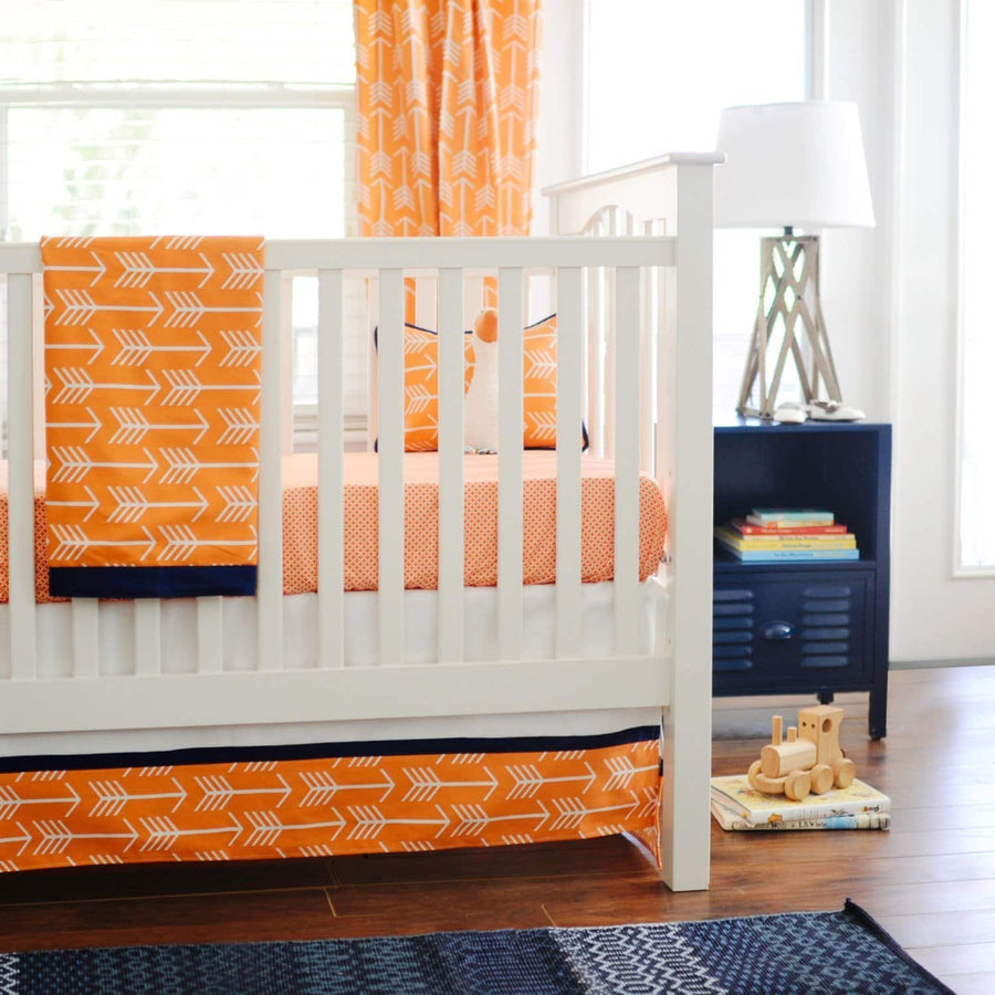 Orange & Navy Arrow Out & About Baby Bedding Set