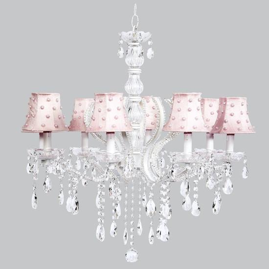 Pageant Eight-Light Chandelier with Pink Pearl Dot Shades-Chandeliers-Default-Jack and Jill Boutique