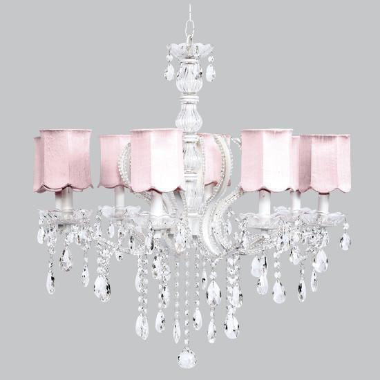 Pageant Eight-Light Chandelier with Pink Scalloped Drum Shades-Chandeliers-Default-Jack and Jill Boutique