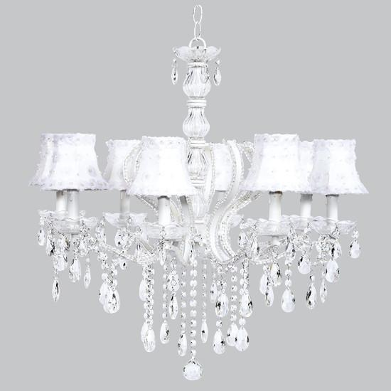 Pageant Eight-Light Chandelier with White Petal Flower Shades-Chandeliers-Default-Jack and Jill Boutique