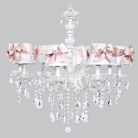 Pageant Eight-Light Chandelier with White Shades and Pink Sashes-Chandeliers-Default-Jack and Jill Boutique