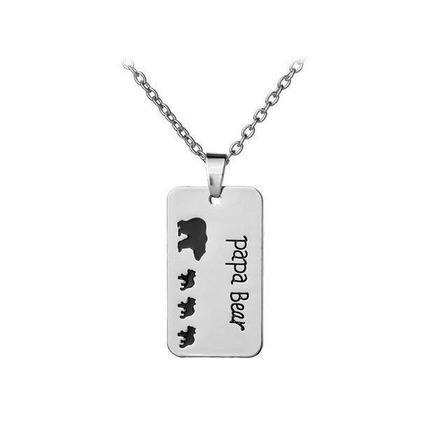 Papa Bear Engraved Black Enamel Dog Tag Pendant Necklace for Dad-Jewelry-Jack and Jill Boutique