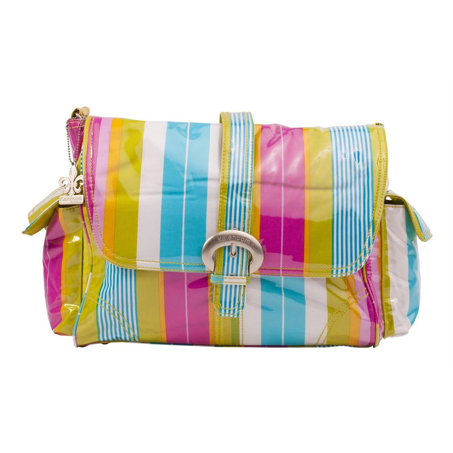 Paradise Stripes Aqua Laminated Buckle Diaper Bag | Style 2960 - Kalencom-Diaper Bags-Default-Jack and Jill Boutique