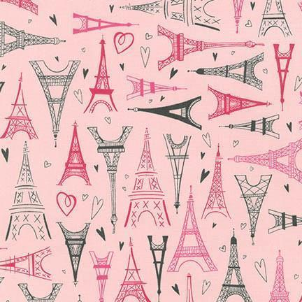 Paris Adventure Fabric in Pink | 100% Cotton