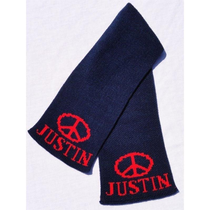 Peace Sign Personalized Knit Scarf-Scarves-Default-Jack and Jill Boutique