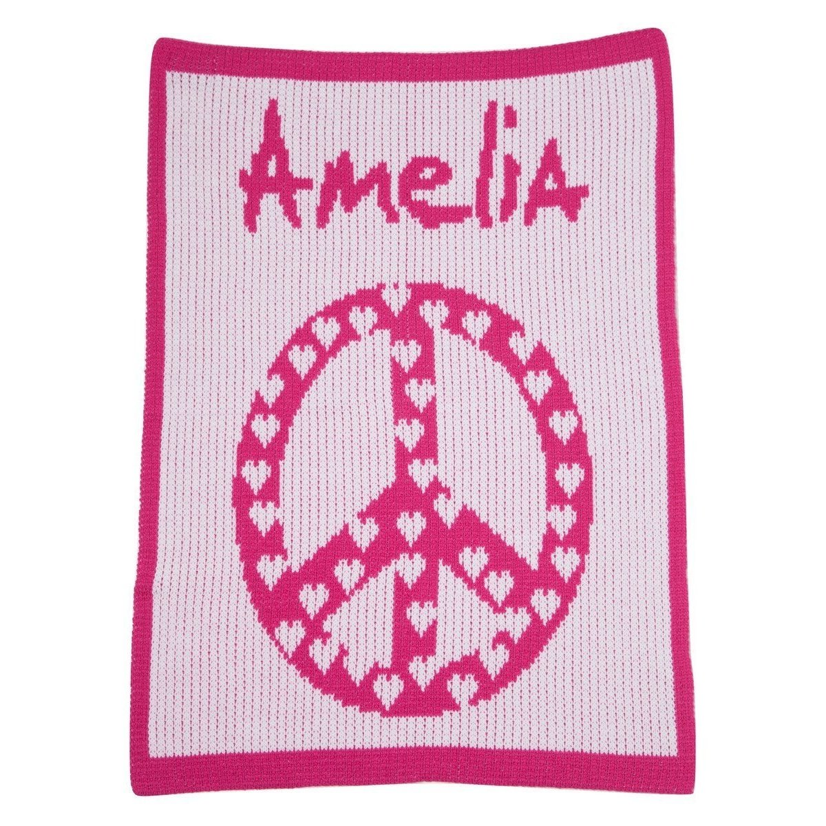 Peace Sign with Hearts Personalized Stroller Blanket or Baby Blanket-Blankets-Jack and Jill Boutique