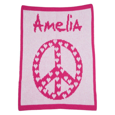 Peace Sign with Hearts Personalized Stroller Blanket or Baby Blanket-Baby Blanket-Jack and Jill Boutique